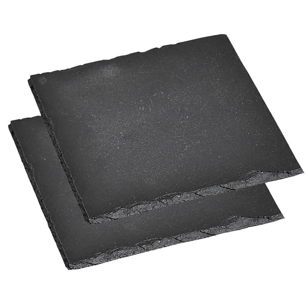 17_Kesper Servierplatte, 2er Pack, Schieferplatte, Buffet-Platte, aus Schiefer, geölt, Maße- 200 x 200 mm, schwarz