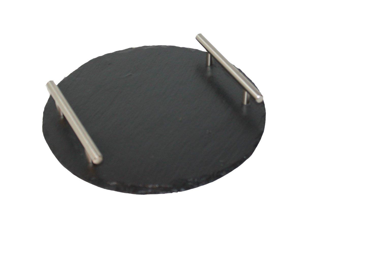43_Tablett aus Naturschiefer mit Edelstahlgriffen rund Durchmesser 35 cm