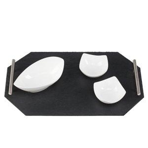 44_Tablett aus Naturschiefer mit Edelstahlgriffen 40 x 20 cm achteckig